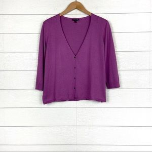 Eileen Fisher Cotton Cashmere Cardigan Purple